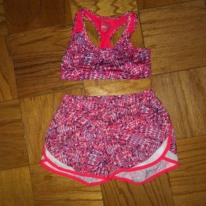 Girls Old Navy sports bra and running shorts!